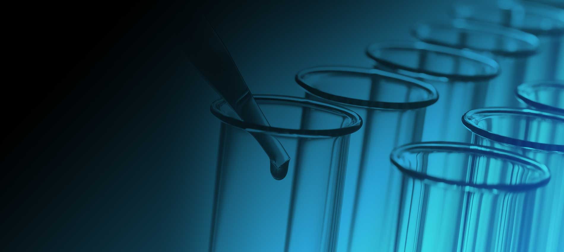 Pipette and Test Tube Gradient Blue Background